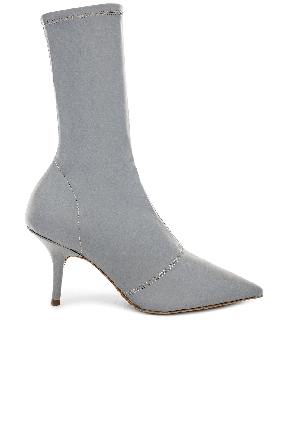 Chrome Reflective Ankle Boot 70mm Heel in Silver