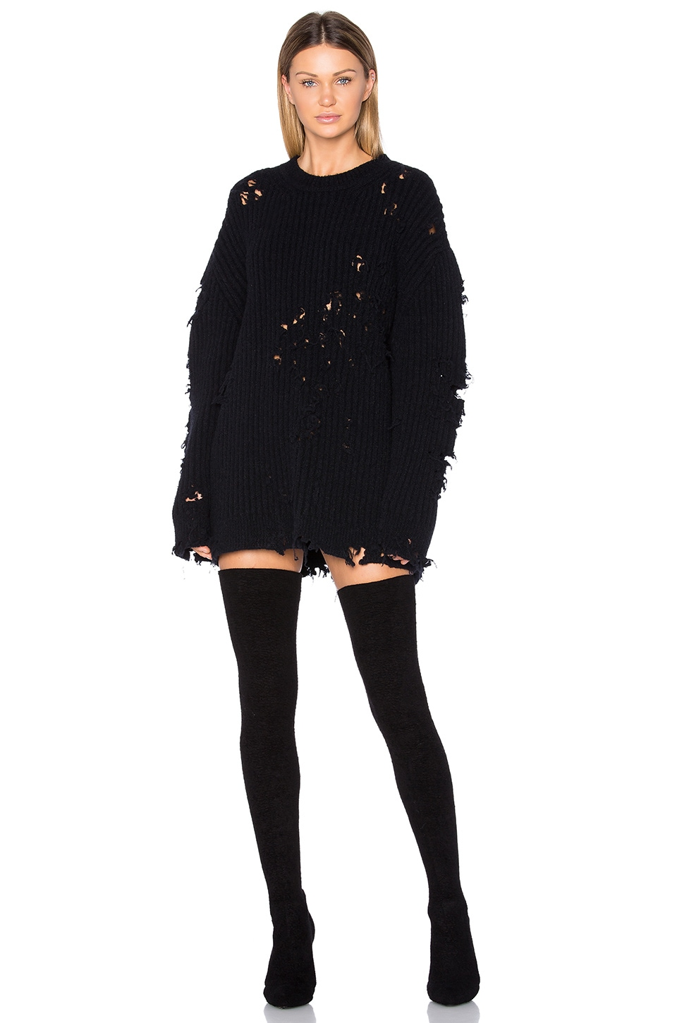 Destroyed Oversized Boucle Sweater