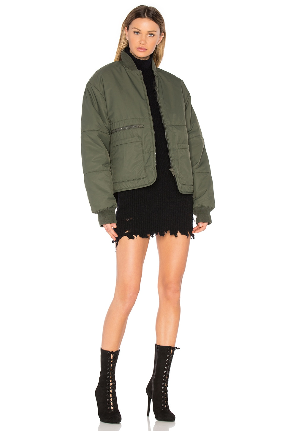 YEEZY Season 3 Puffer Bomber Jacket in Stone Dark