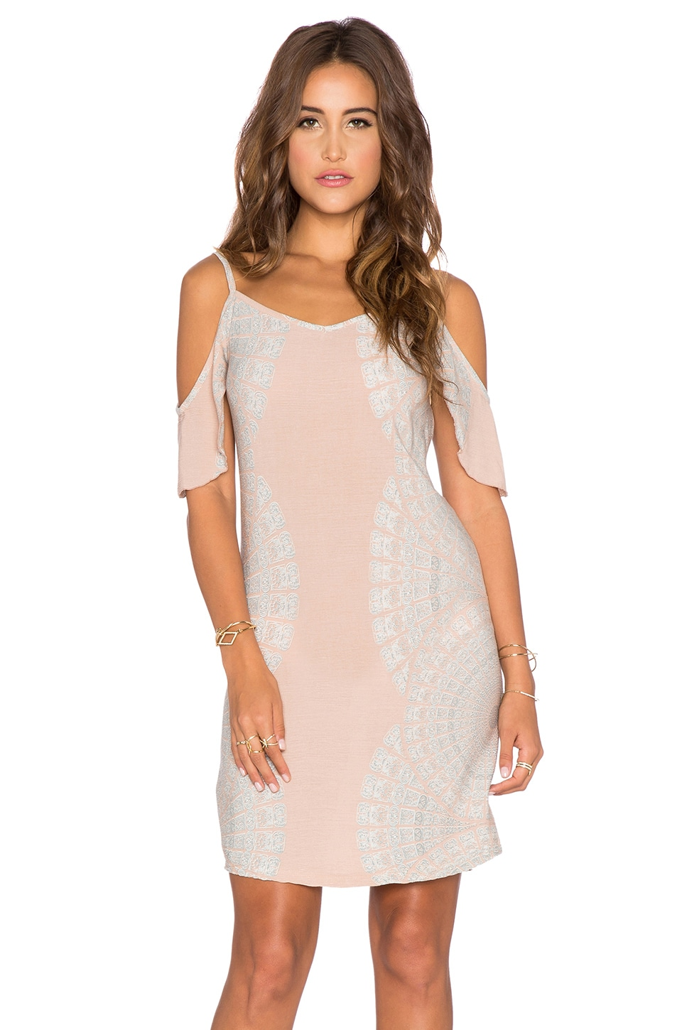 YIREH Mita Cold Shoulder Dress in Sundial