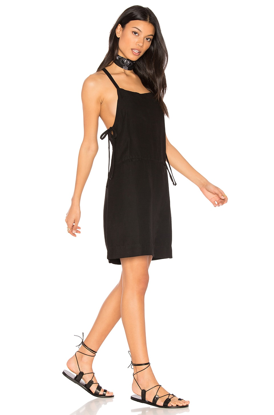 YORK street Bib Slip Dress with Ties in Black