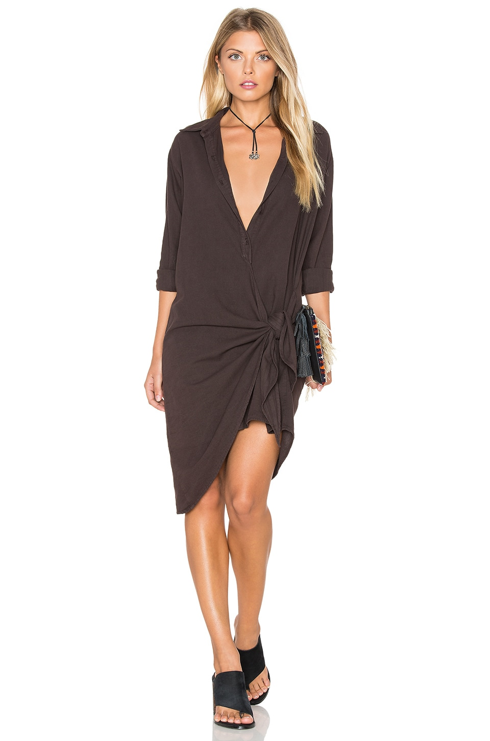 YORK street Tied Shirt Dress in Espresso