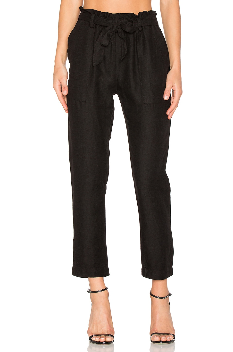 YORK street Paper Bag Waist Pant in Black