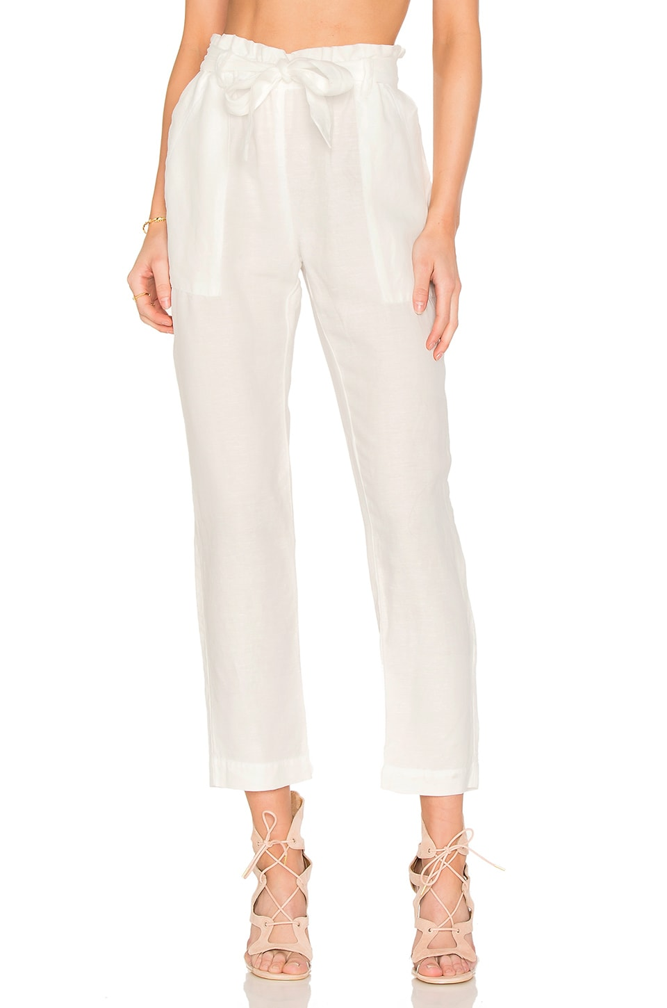 YORK street Paper Bag Waist Pant in Natural