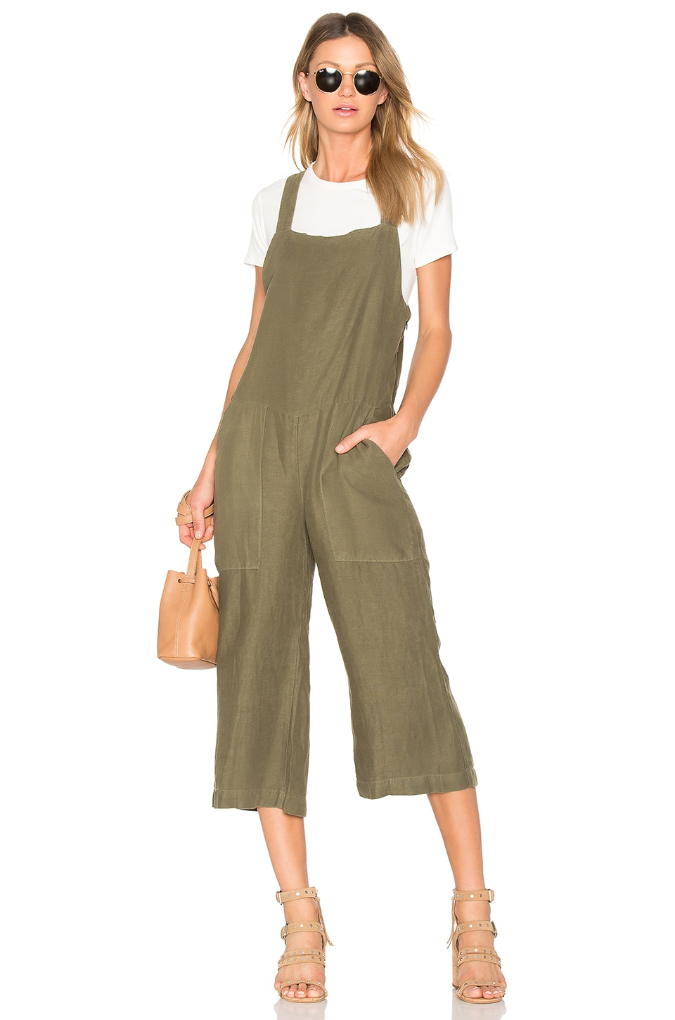 YORK street Wide Leg Bib Jumpsuit in Army