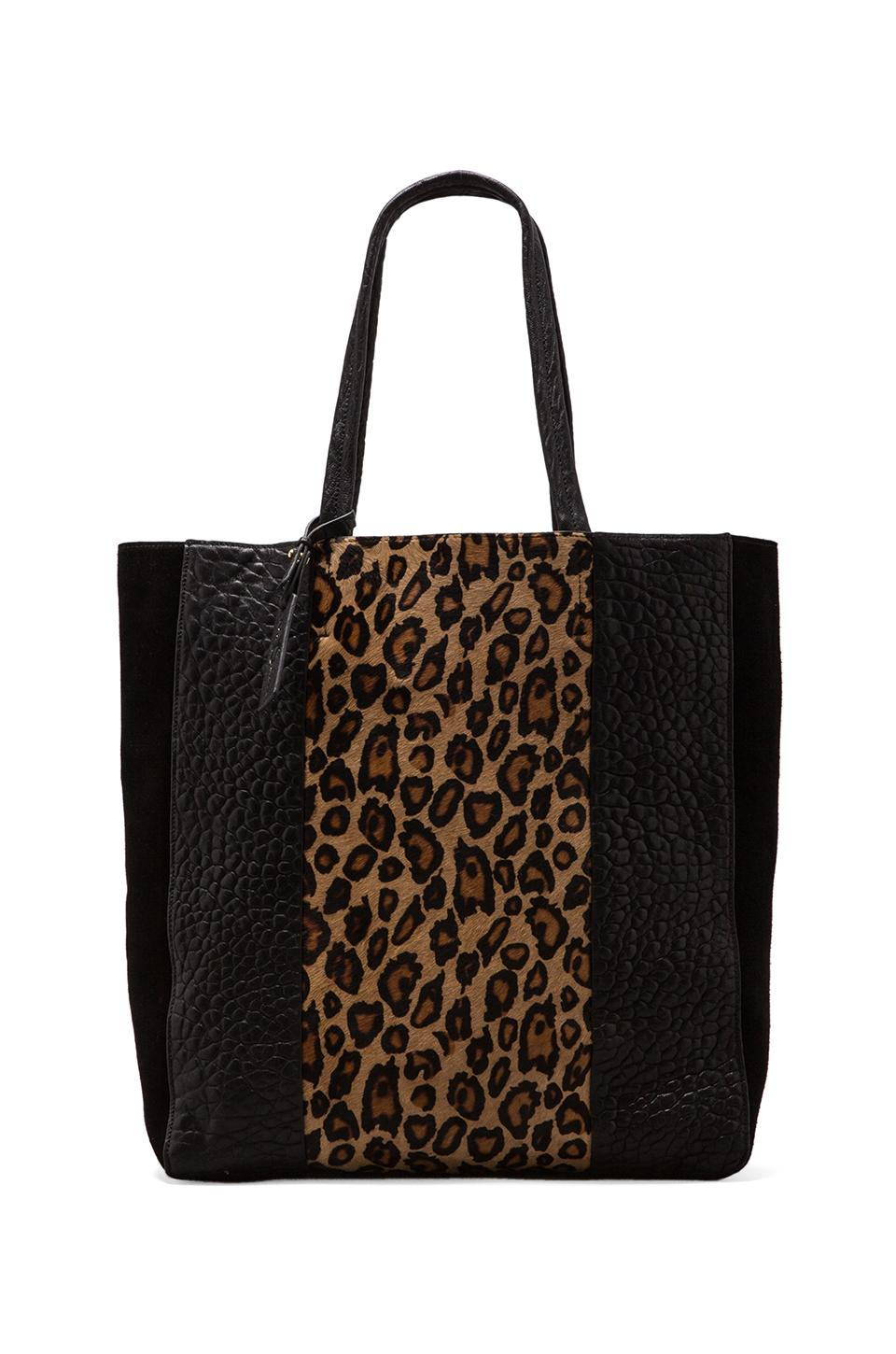 Yosi Samra Multi Panel Tote Bag in Black/Tan Leopard