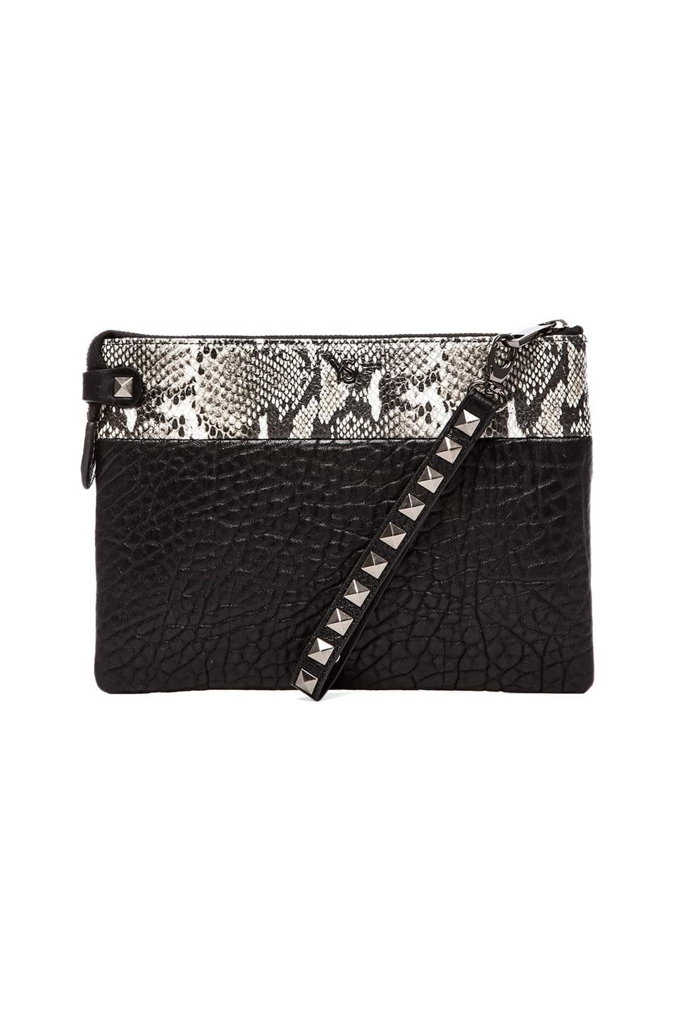 Yosi Samra Detachable Strap Two Tone Wristlet in Black & Clay Python