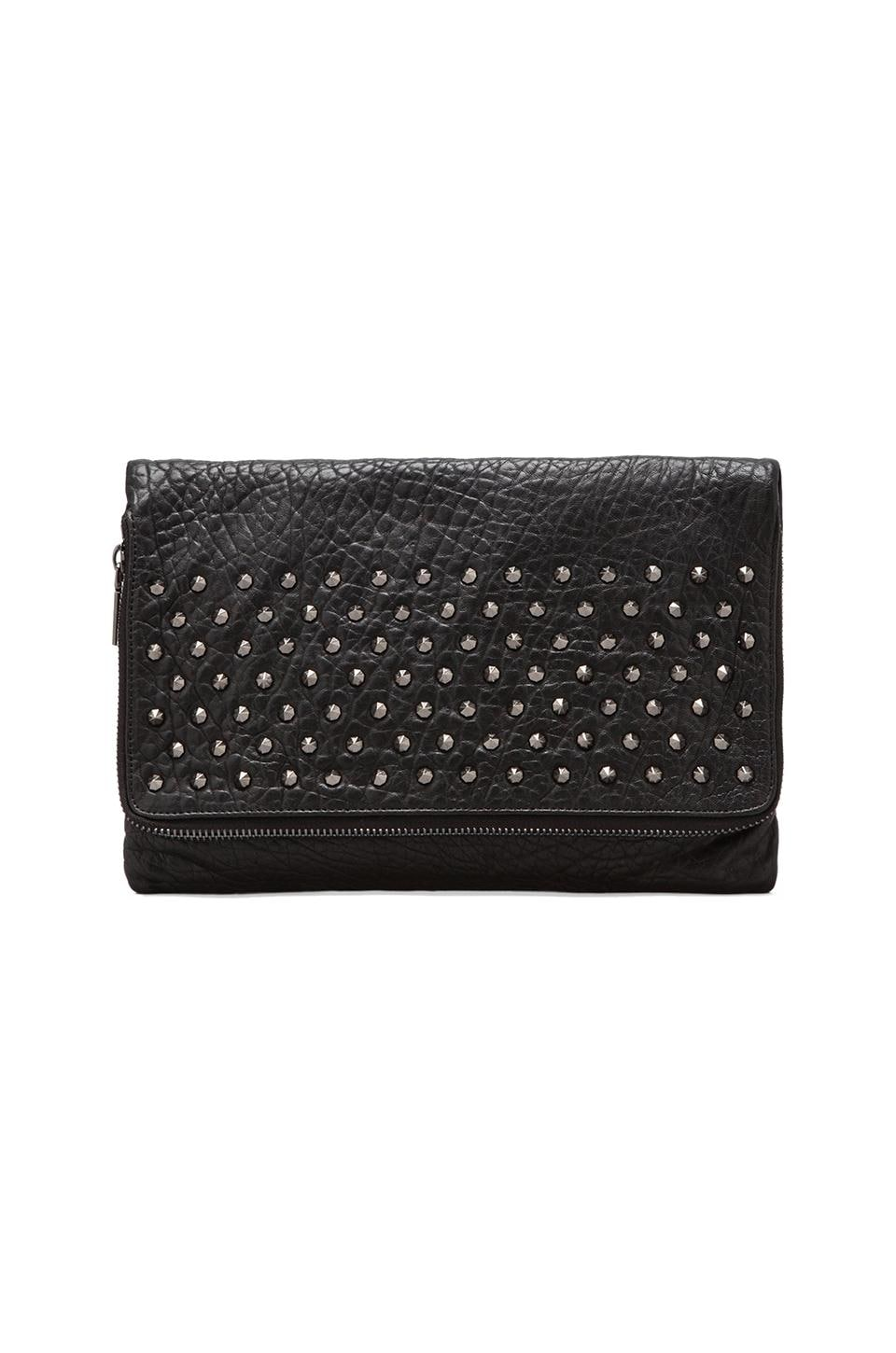 Yosi Samra Blair Studded Foldover Clutch in Black