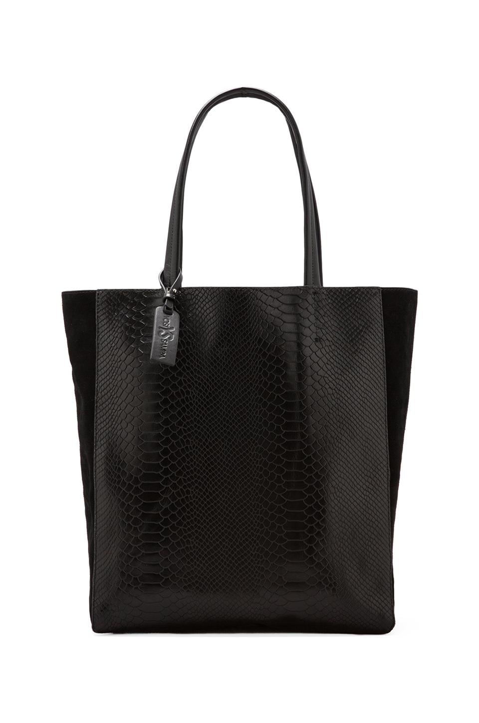 Yosi Samra Two Tone Croco Tote Bag in Black