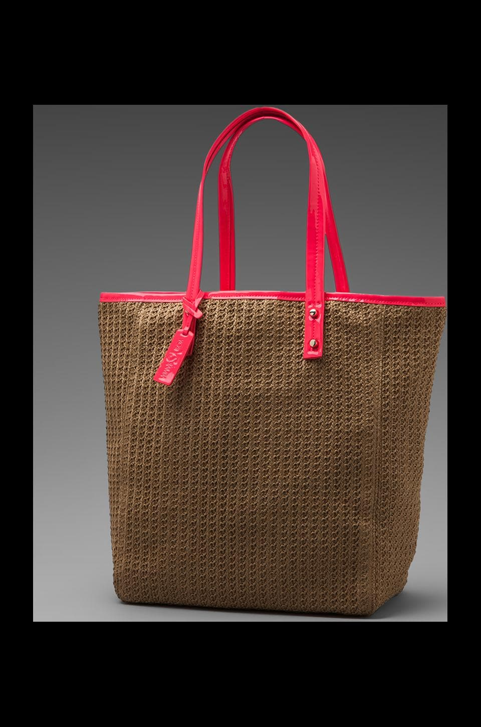 Yosi Samra Basket Weave Bag in Natural/Neon Pink