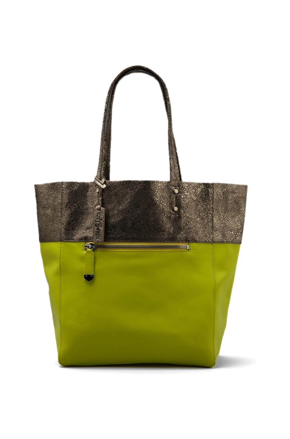 Yosi Samra Burnished Leather Bag in Gold/Citron