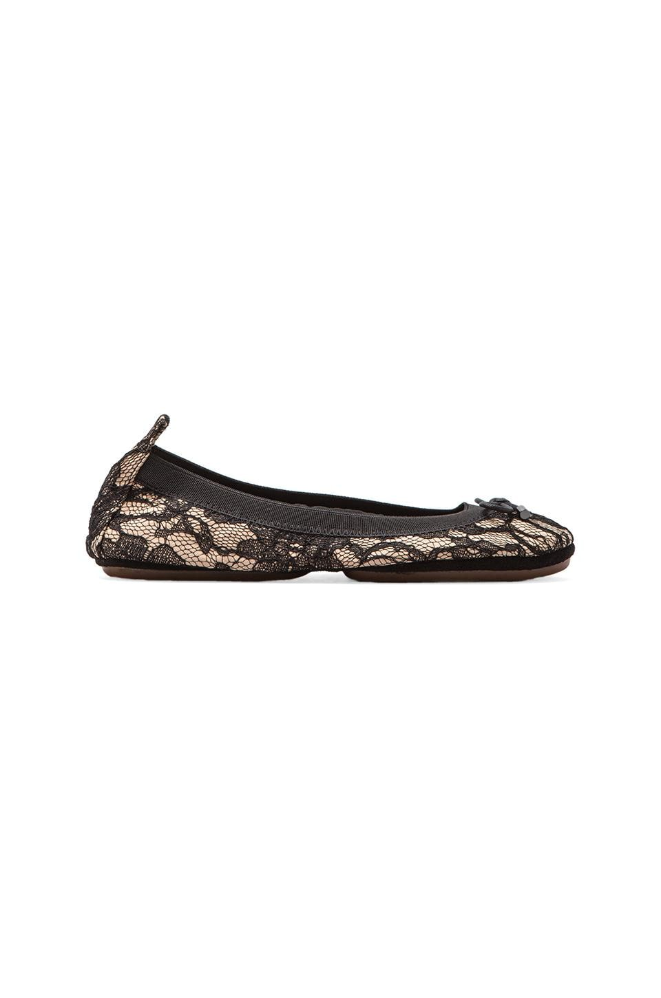 Yosi Samra Leather Blacked Lace Ballet Flat in Buff/Black