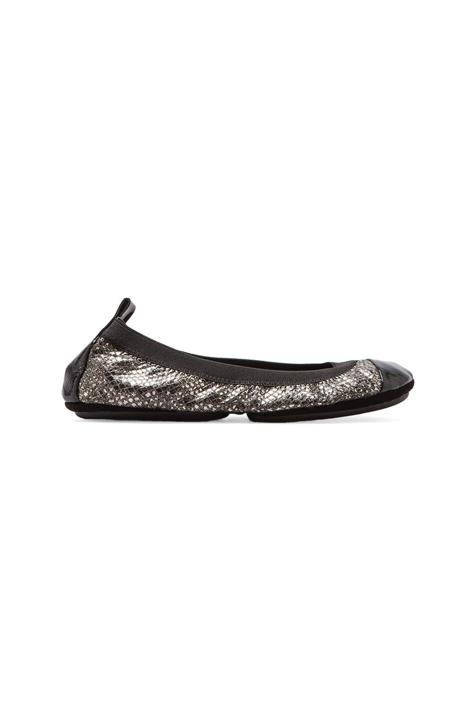 Yosi Samra Two Tone Patent Cap Toe Ballet Flat in Antique Silver/Black