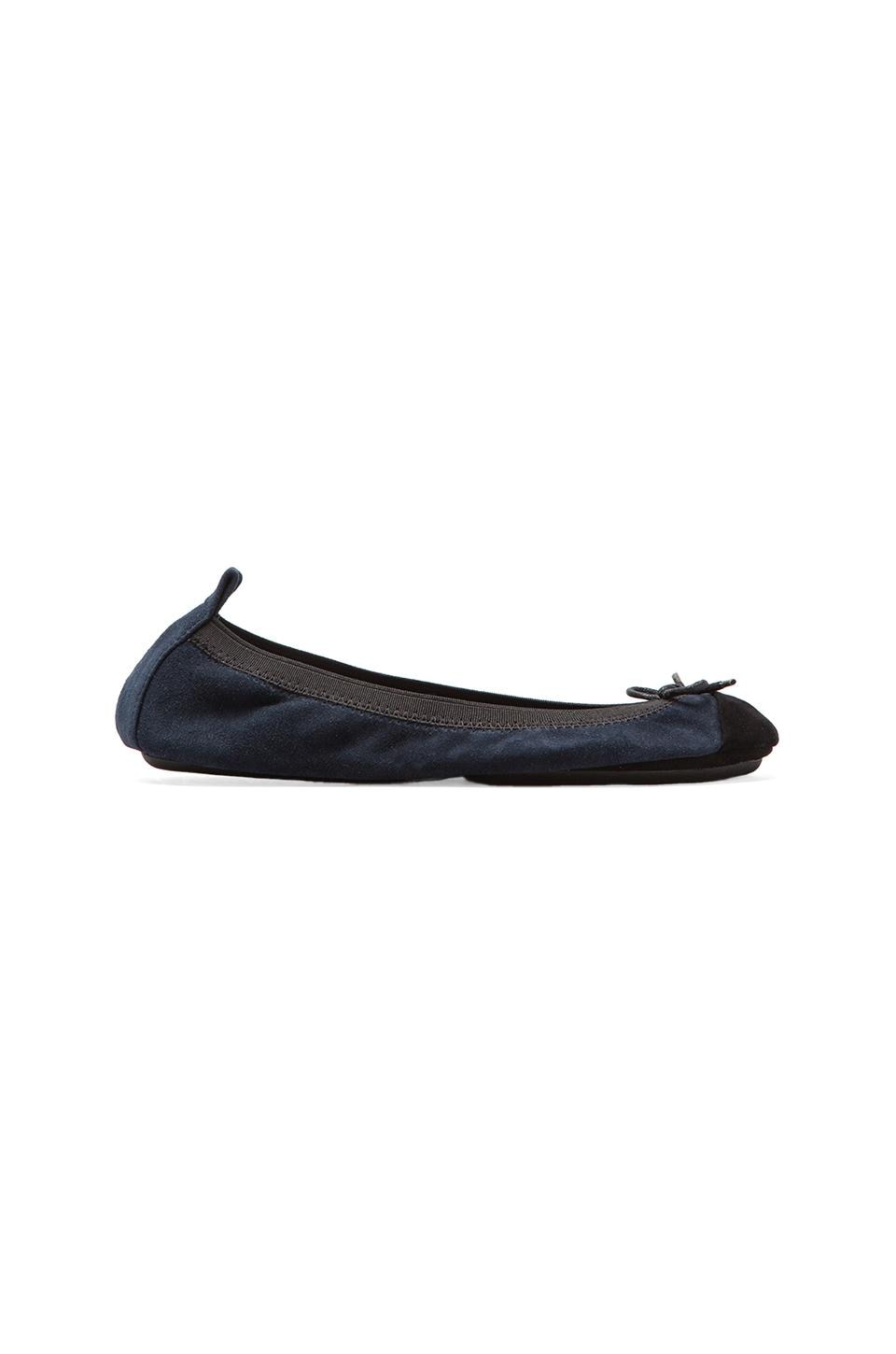 Yosi Samra Two Tone Cap Toe Ballet Flat in Midnight/Black