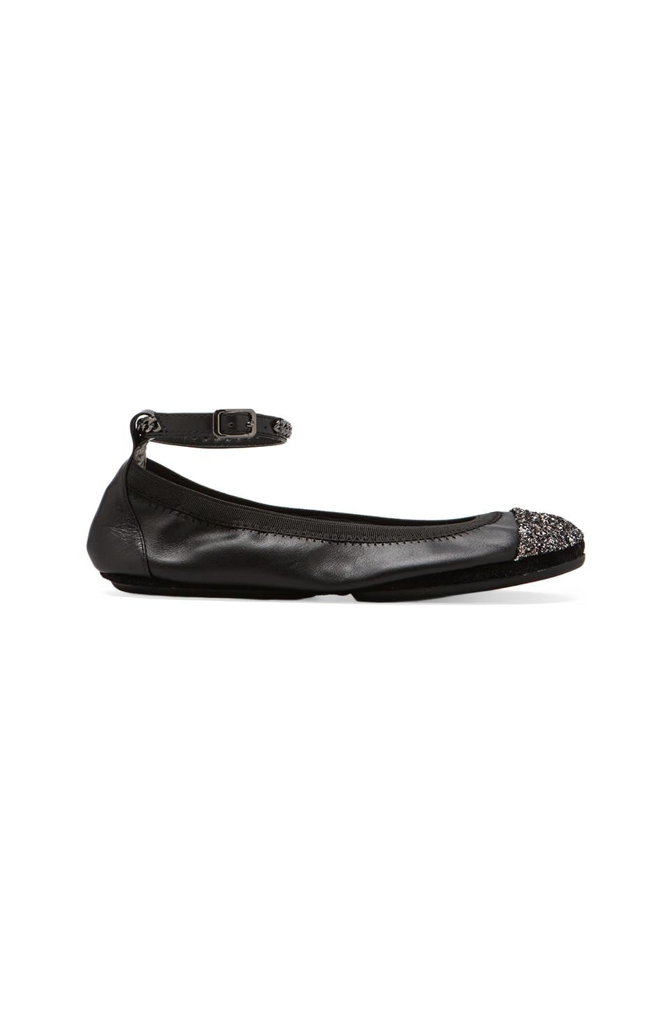 Yosi Samra Abbey Two Toned Glitter Flat in Black/Stardust