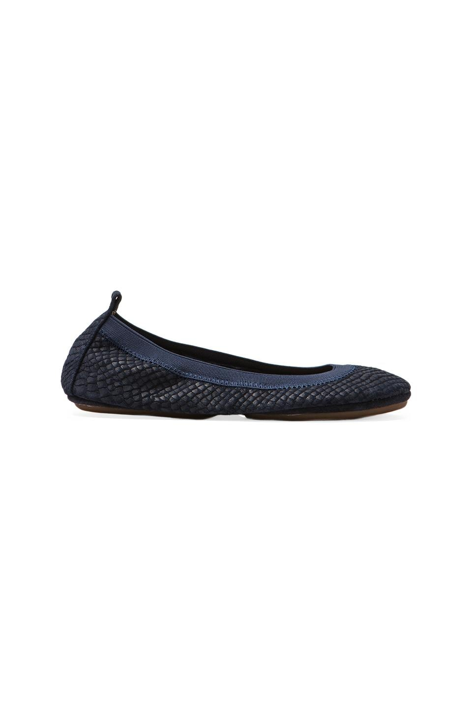 Yosi Samra Embossed Croc Flatin Midnight