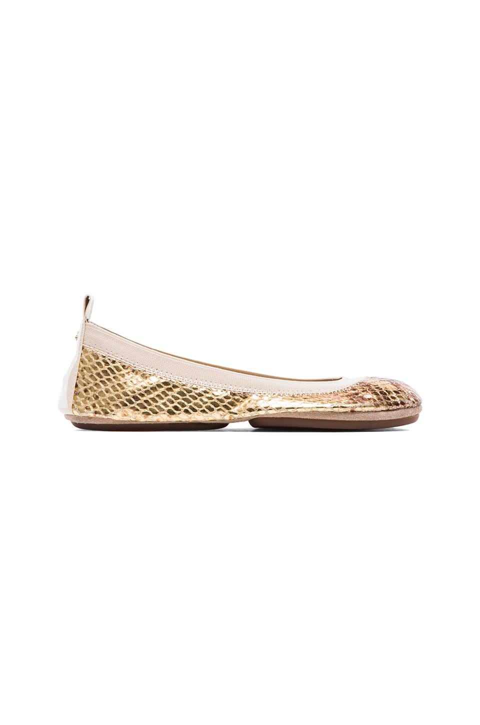 Yosi Samra Samara Metallic Python Leather Flat in Gold