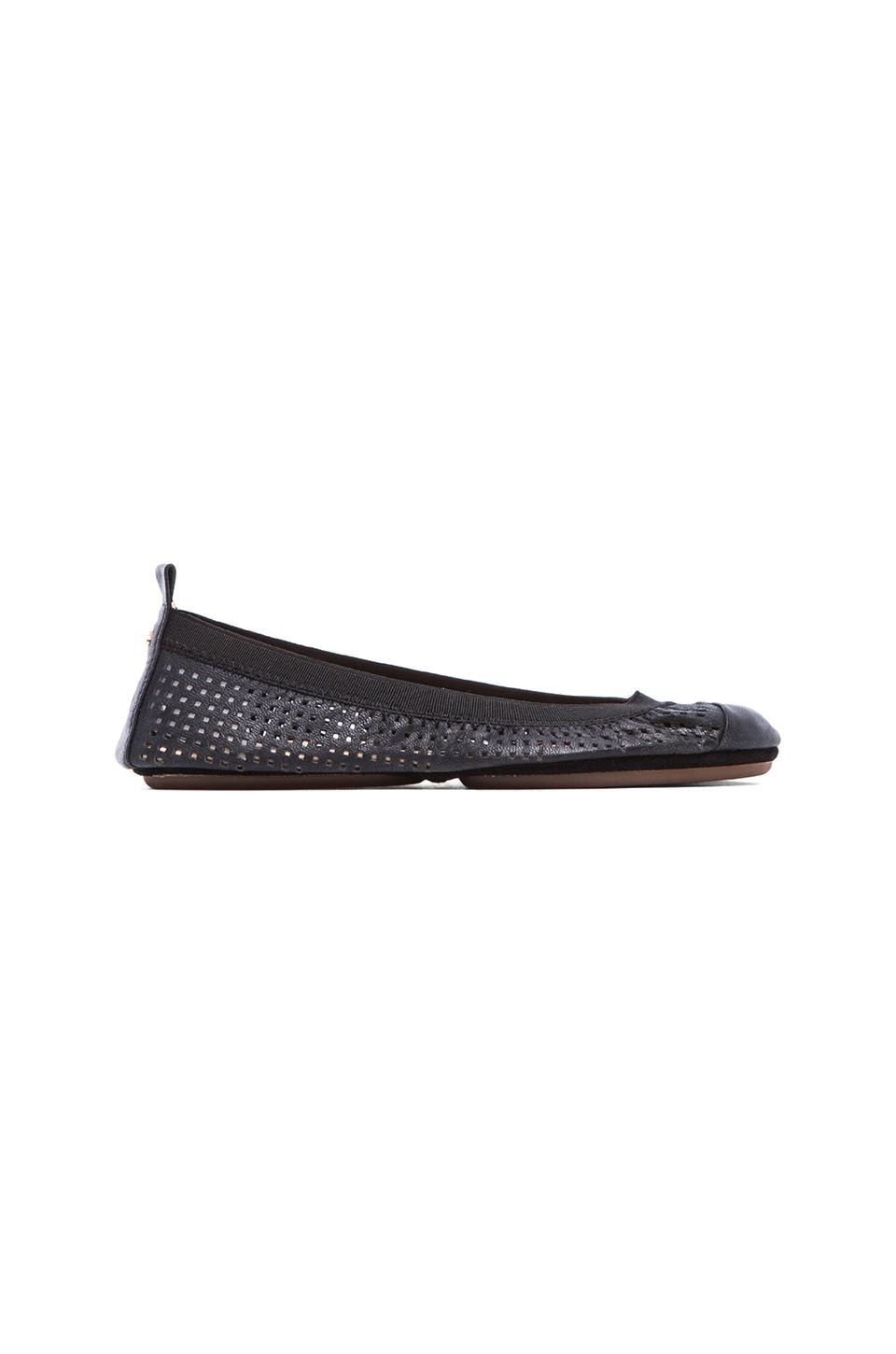 Yosi Samra Samantha Perforated Leather Flat in Black