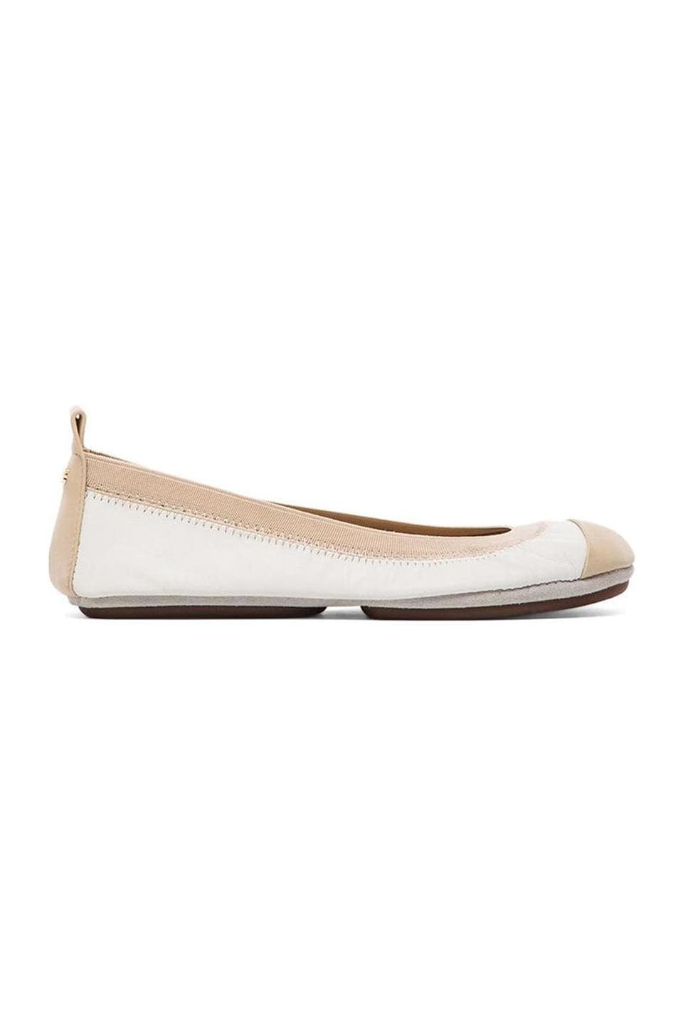 Yosi Samra Samantha Soft Leather Fold Up Flat in White/Biscotti