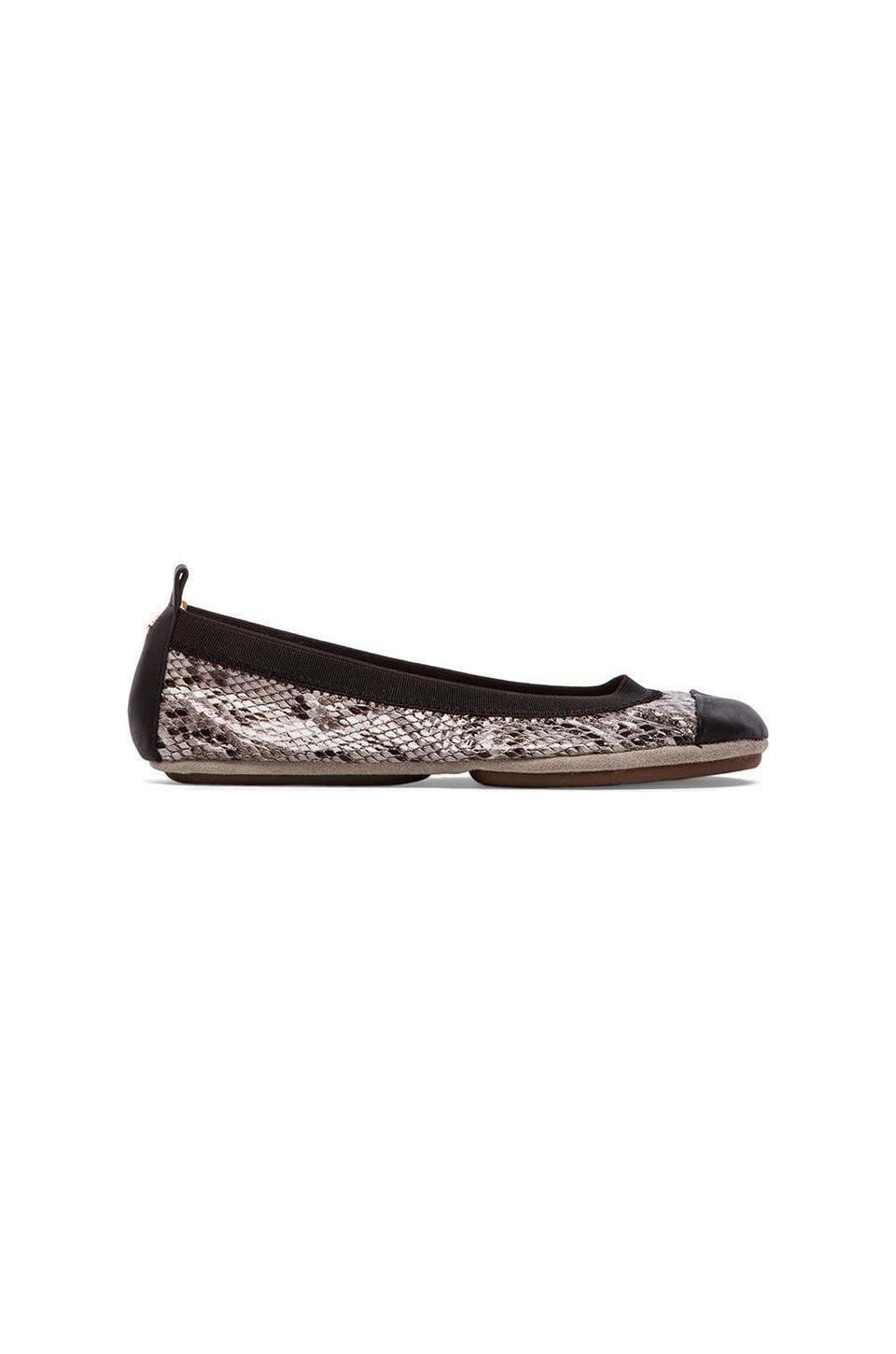 Yosi Samra Samantha Embossed Snake Leather Flat in Smoke & Black