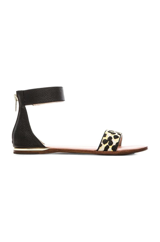 Yosi Samra Cambelle Multicolor Calf Hair Sandal in Biscotti & Black