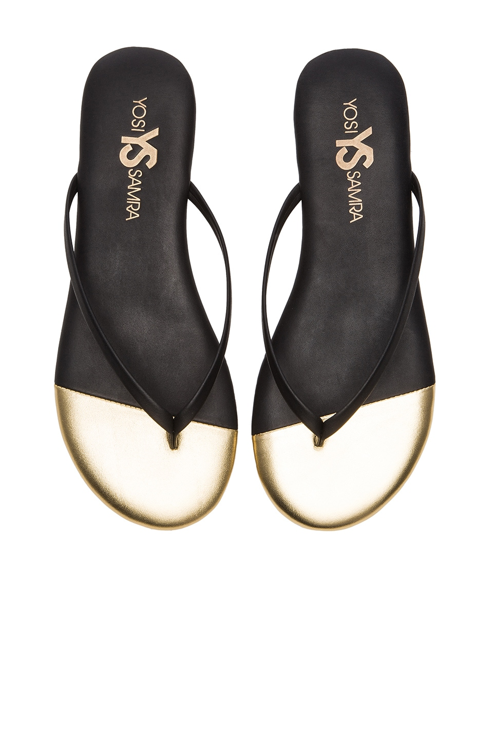 Yosi Samra Roee Metallic Flip Flop in Black & Pure Gold