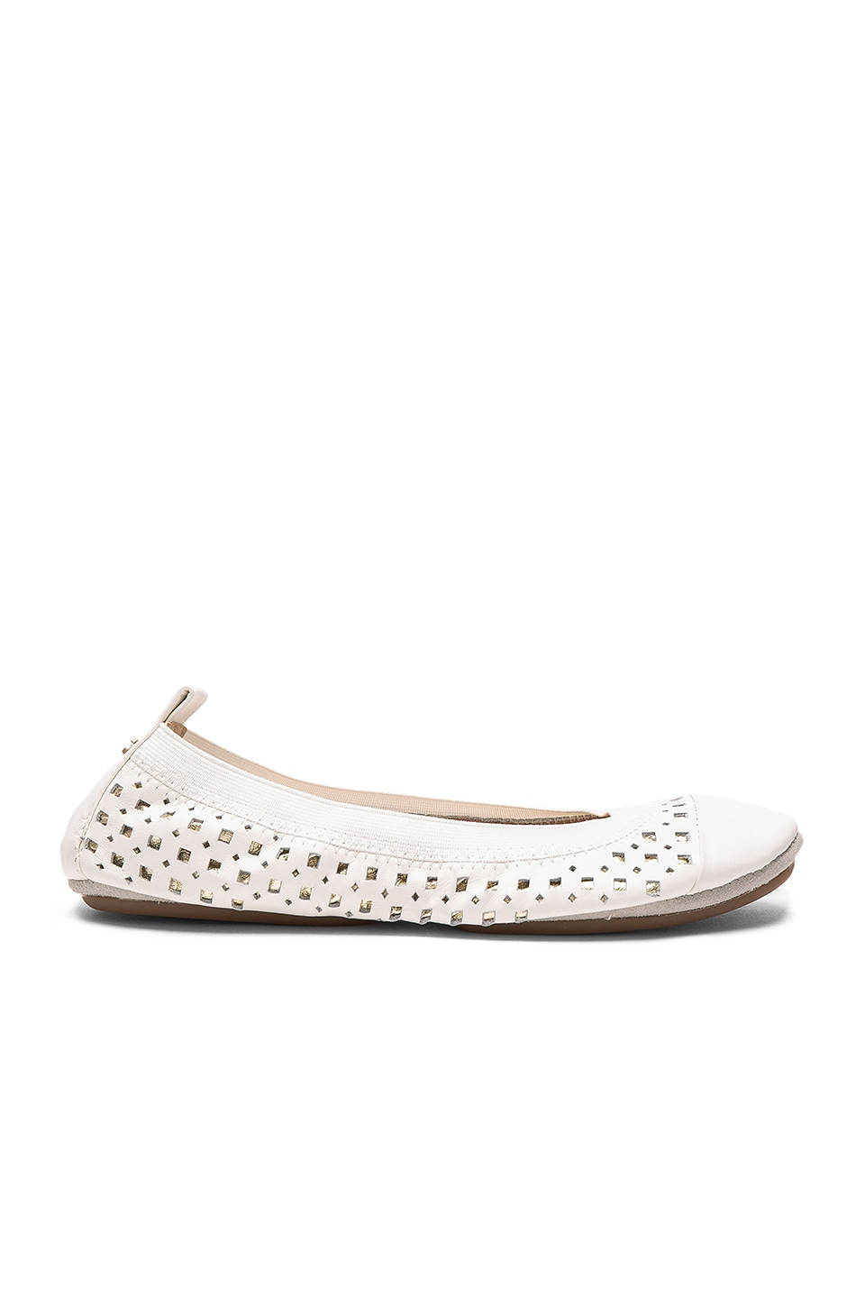 Yosi Samra Samantha Flat in White & Pure Gold