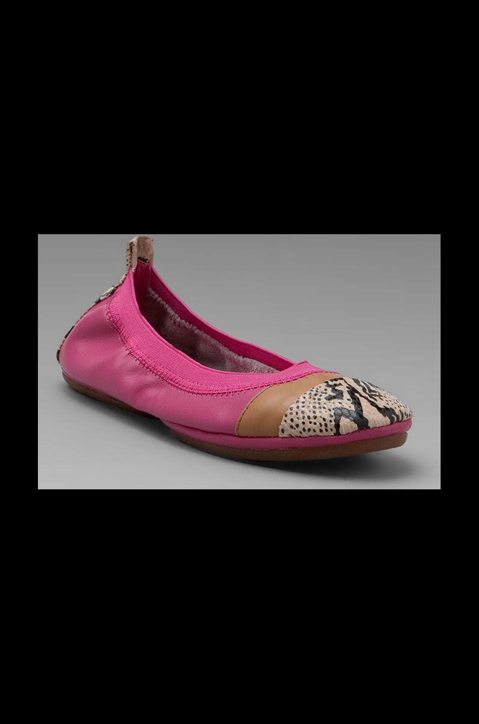 Yosi Samra Color Blocked Flat in Pink/Nude Snake