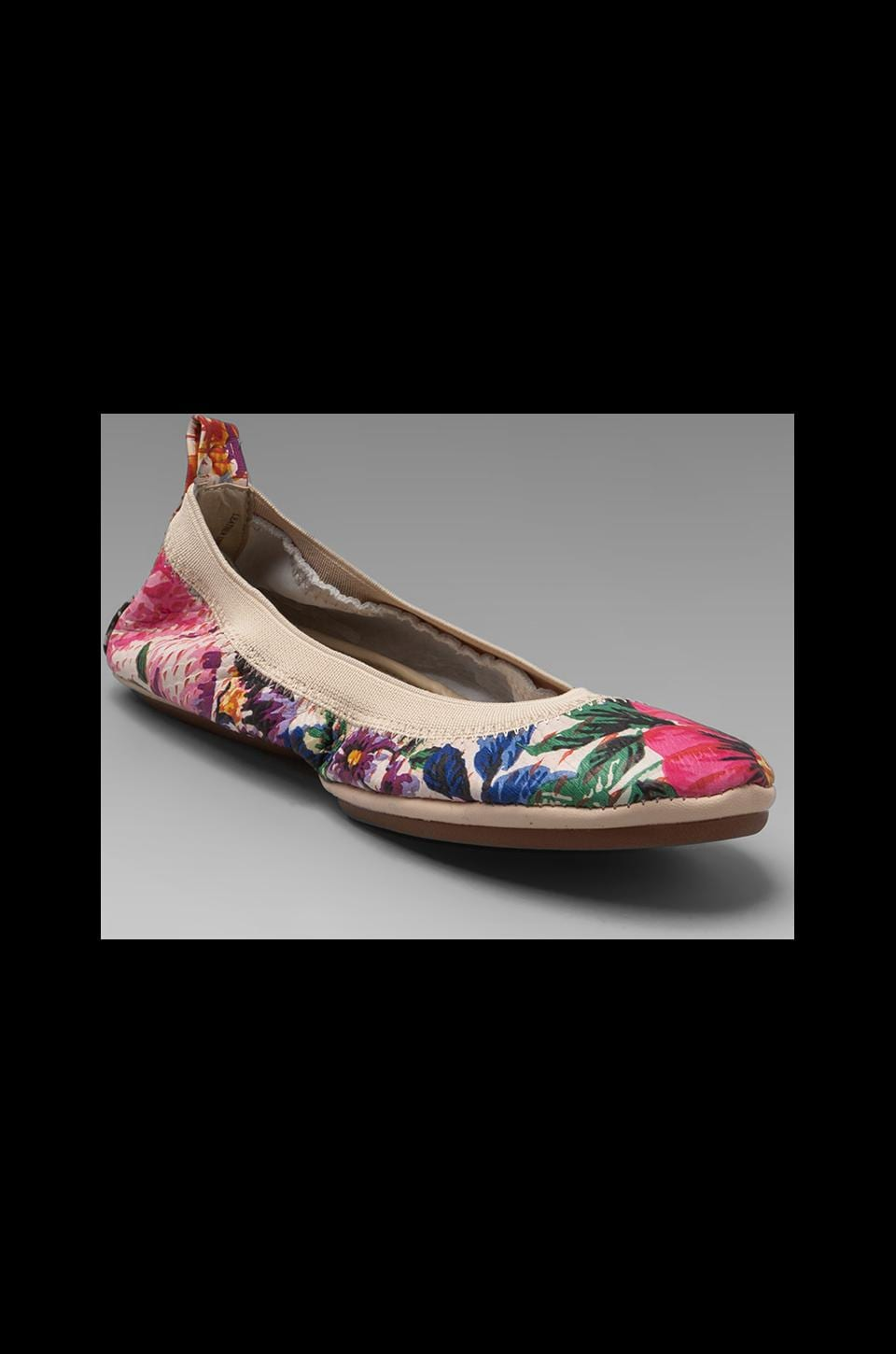 Yosi Samra Antique Floral Printed Flats in Orange Island