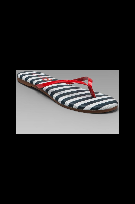 Yosi Samra Stripe Sandal in Navy Stripe/Red Patent