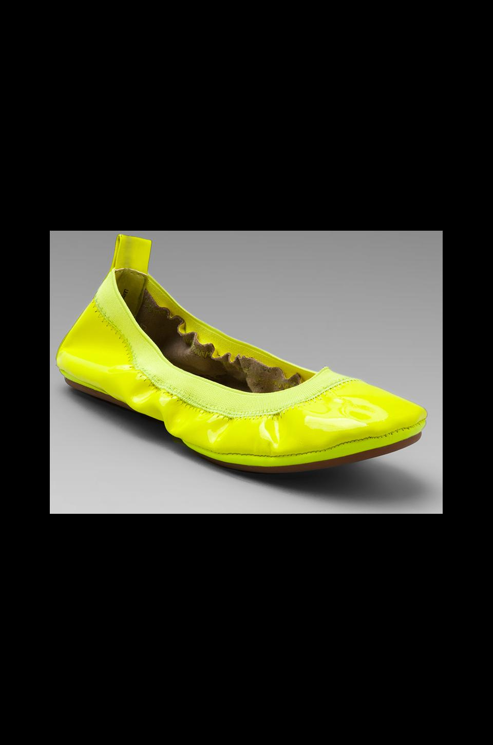 Yosi Samra Patent Leather Flat in Neon Yellow