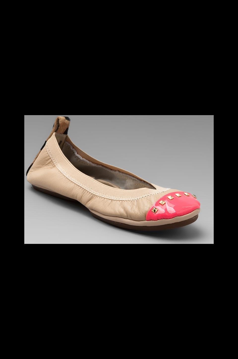 Yosi Samra Leather Flat in Neon Pink/Leopard