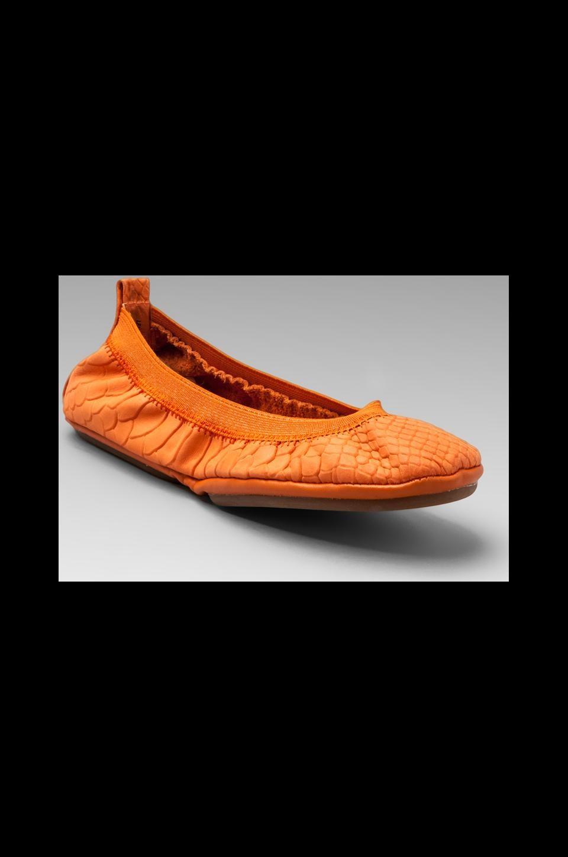 Yosi Samra Waxy Crocodile Flat in Waxy Tangerine