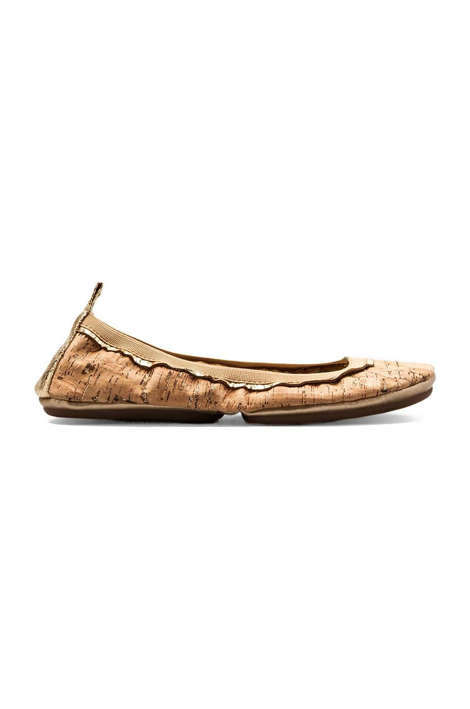 Yosi Samra Glitter Flaked Cork Body Flat in Natural/Gold
