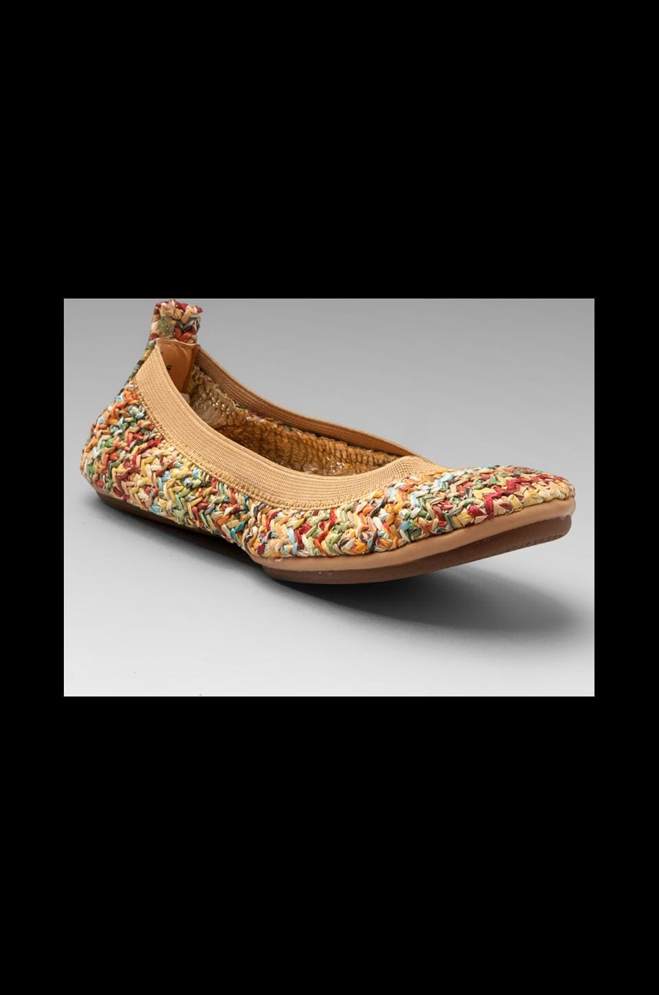 Yosi Samra Braided Straw Flat in Natural/Multi Stripe