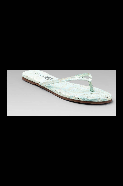 Yosi Samra Metallic Snake Sandal in Pastel Green/Silver