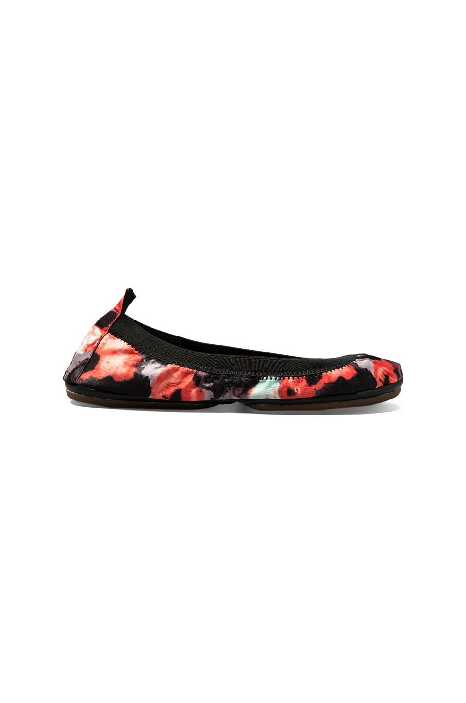 Yosi Samra Abstract Printed Sateen Flat in Black/Coral
