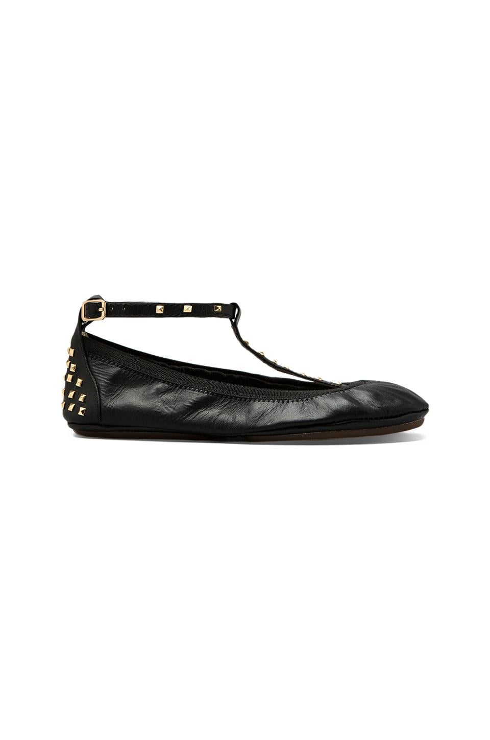 Yosi Samra Gold Studded T Strap Leather Ballet Flat en Noir