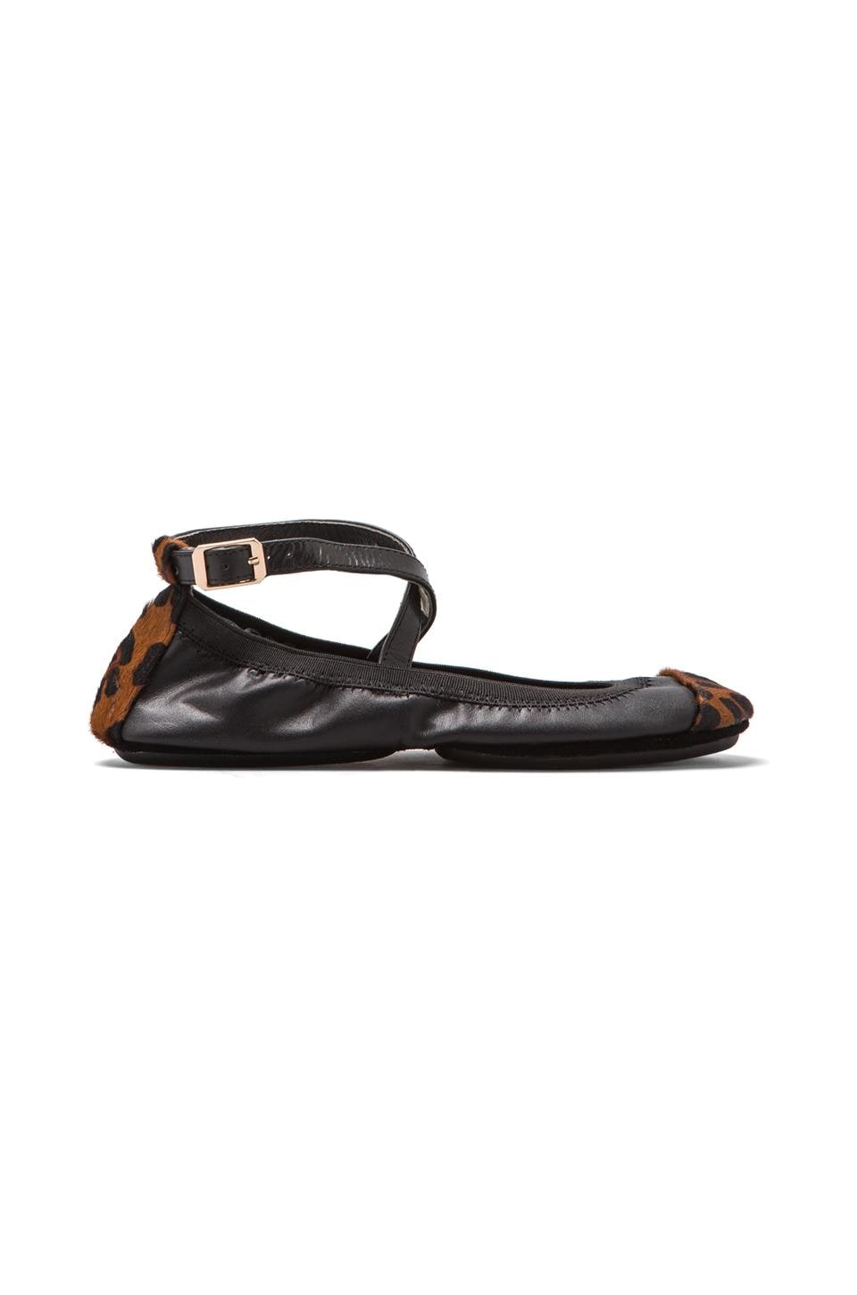Yosi Samra Two Tone Flat with Calf Hair in Black/Dark Leopard