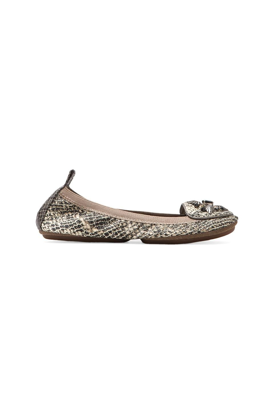 Yosi Samra Rhinestone Loafer in Silver Serpent