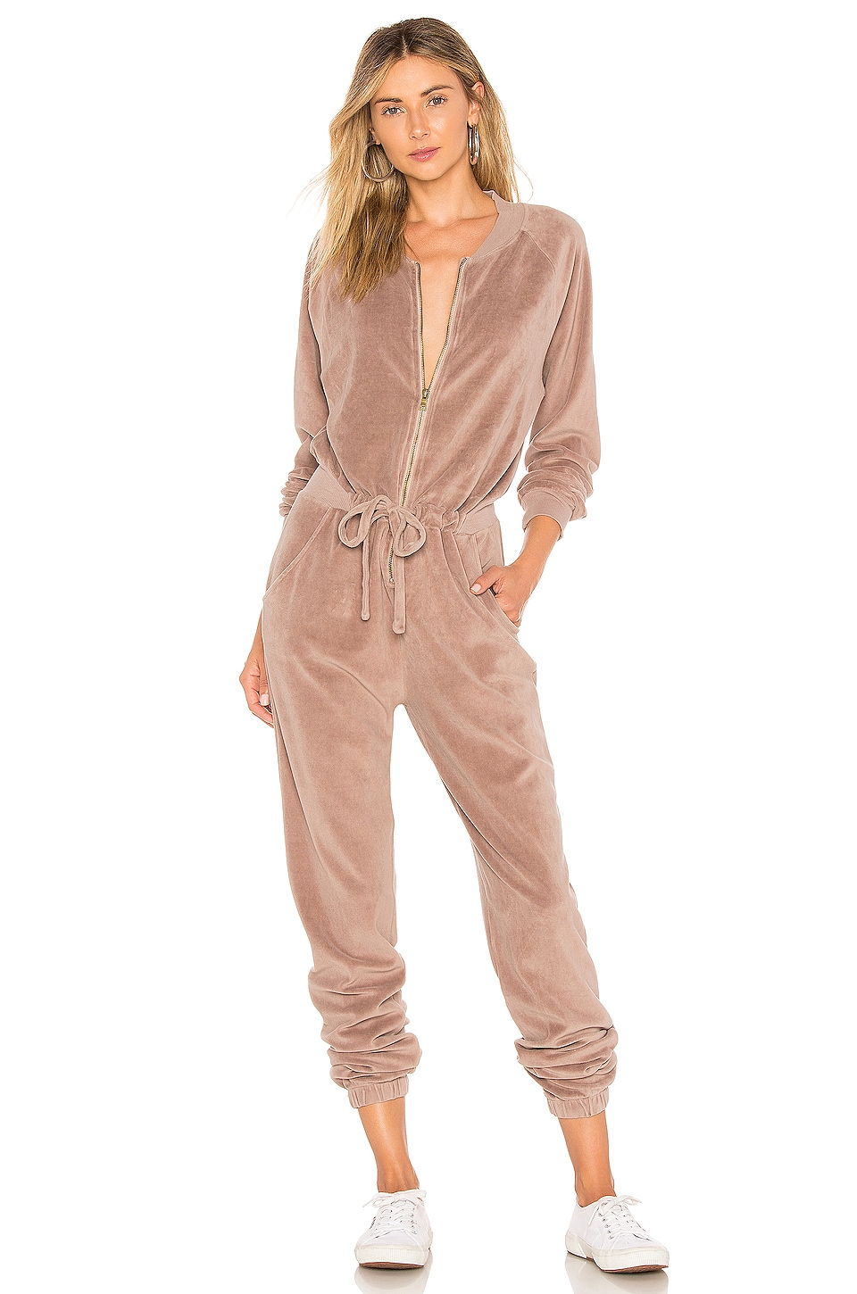 Young, Fabulous & Broke Track Jumpsuit in Dusk Velour
