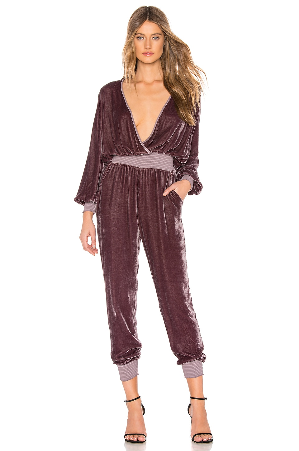 Young, Fabulous & Broke Ambrosia Velvet Jumpsuit in Oakwood