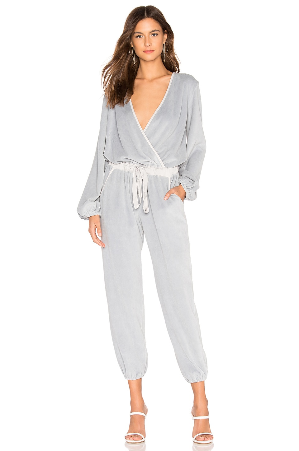 Young, Fabulous & Broke Foiley Velour Jumpsuit in Fog