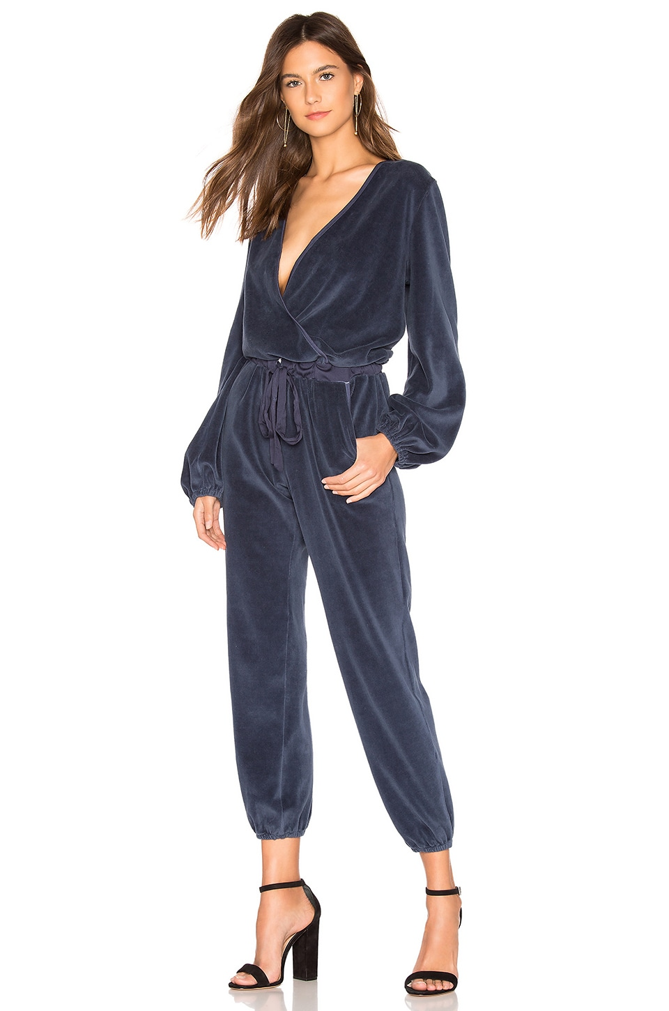 Young, Fabulous & Broke Foiley Velour Jumpsuit in Sapphire