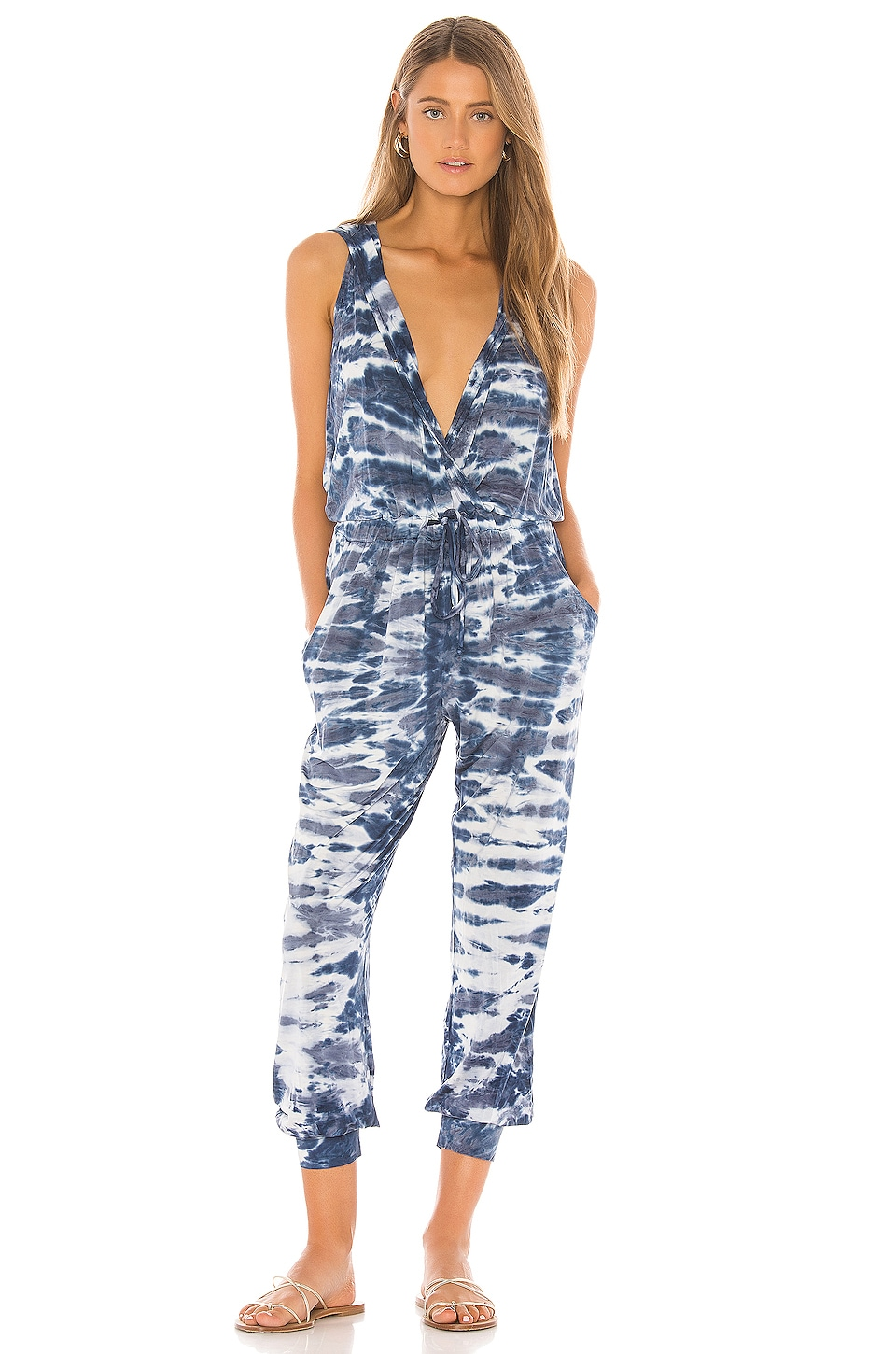 Young, Fabulous & Broke Hoodie Jumpsuit in Navy Ikat Wash