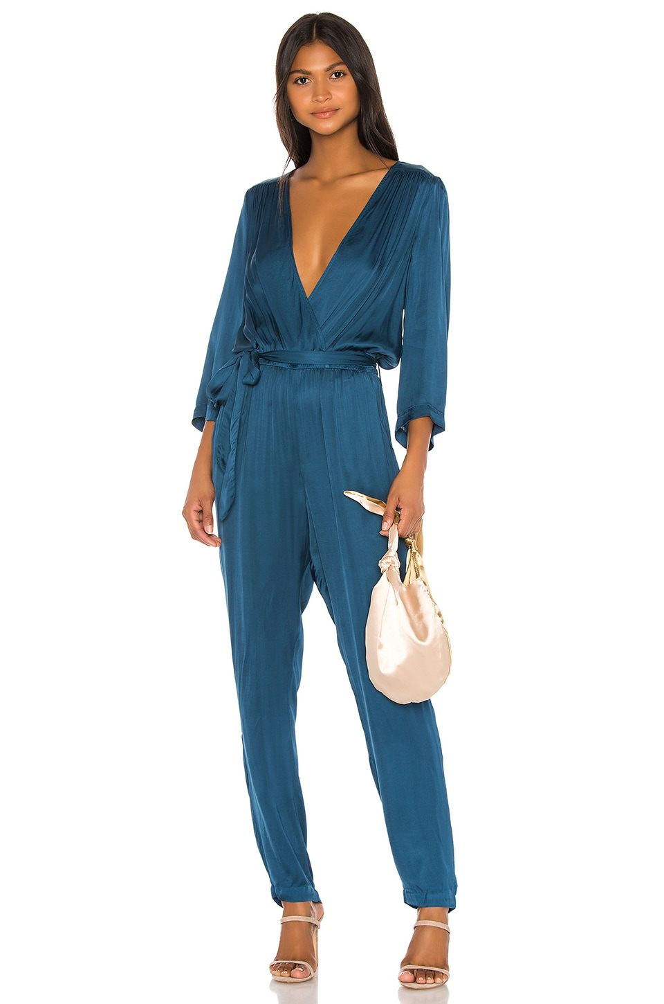 Young, Fabulous & Broke Bellows Jumpsuit in Electric Blue
