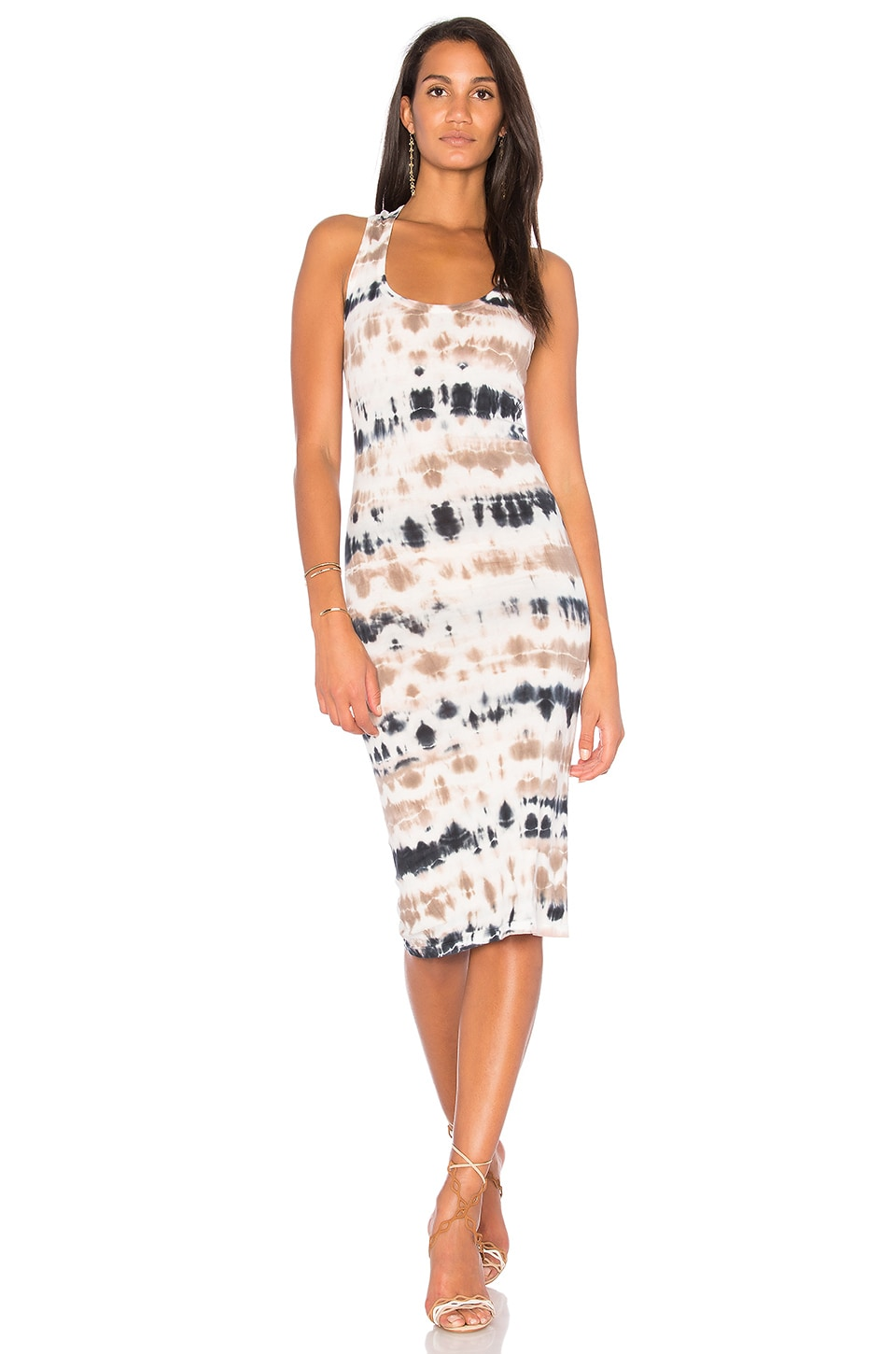 Young, Fabulous & Broke Denny Dress in Taupe Abstract Animal Wash