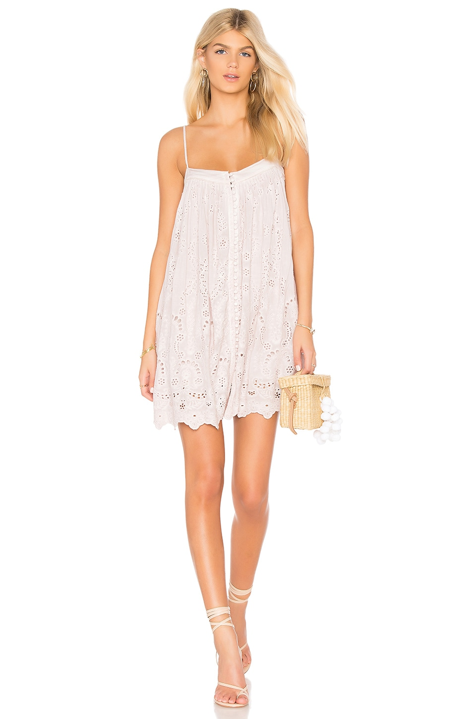 YOUNG FABULOUS & BROKE Bevy Dress, White in Blush