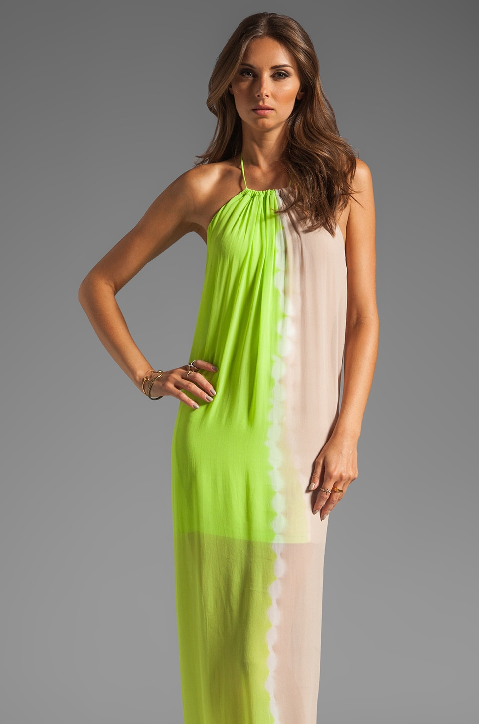 Young, Fabulous & Broke Gila Dress in Lime Sideways Hombre