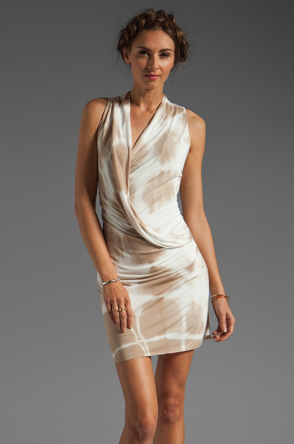 Young, Fabulous & Broke Larissa Dress in Tan Cross Hatch